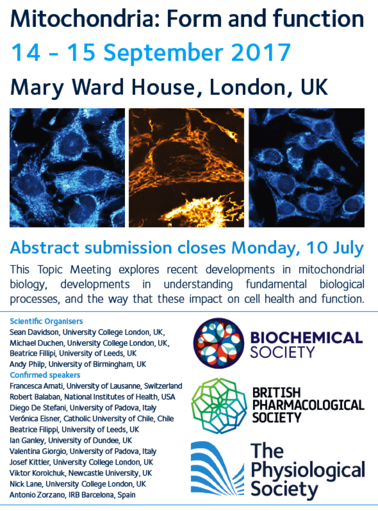 Mitochondria: Form and function, 15-17 September 2017 | UCL CfMR ...